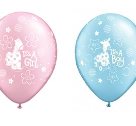 Latexballons It's a girl rosa It's a boy blau