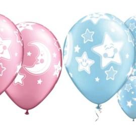 Latexballons Mond Sterne rosa blau