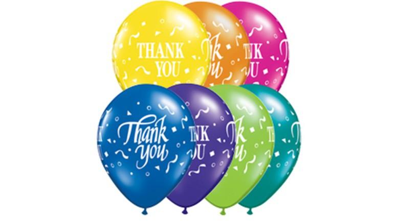 Latexballons Thank You diverse Farben