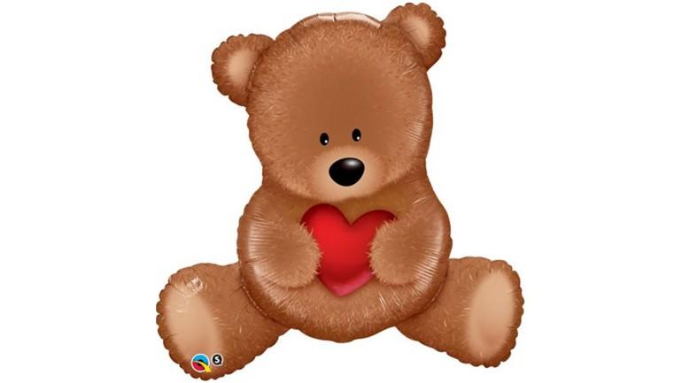 Folienballon Teddybär hält rotes Herz