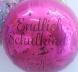 Folienballon pink Endlich Schulkind