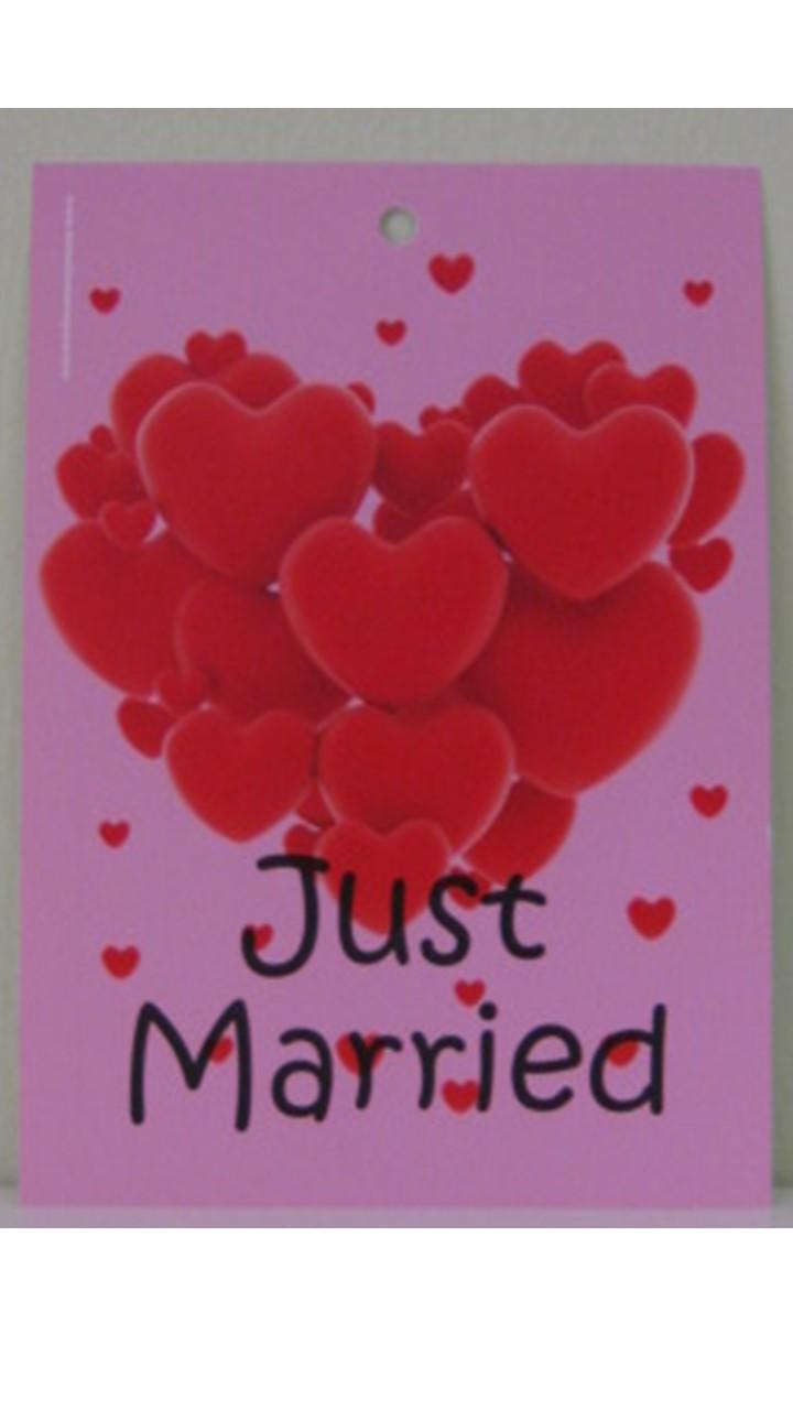 Flugkarte Just Married mit Herzen