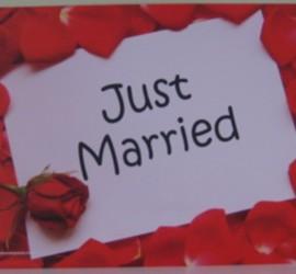 Flugkarte Just Married mit roten Rosenblättern