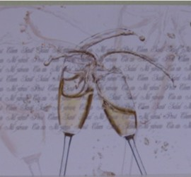 Flugkarte zwei Sektgläser