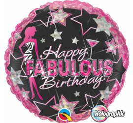 Folienballon schwarz pink Happy Birthday Fabulous