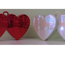 Luftballonhalter Doppelherzen rot weiß