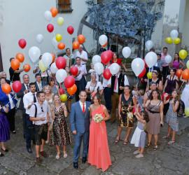 Foto mit bunten Luftballons