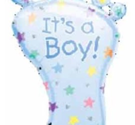 Folienballon It's a boy Babyfuss blau