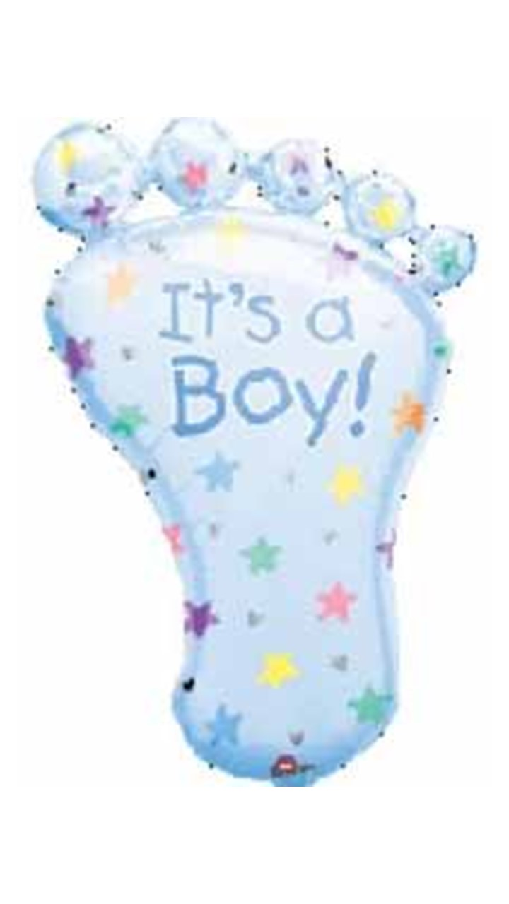 Folienballon It's a boy Babyfuss blau