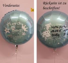 Folienballon Hurra ein Prinz blau