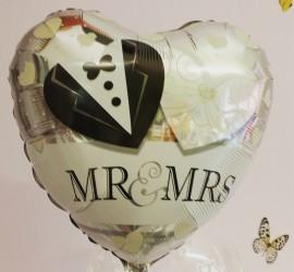 Folienballon Mr & Mrs Herz weiß silber