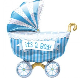 Folienballon It's a boy Kinderwagen blau