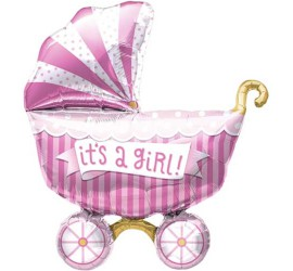 Folienballon It's a girl Kinderwagen rosa