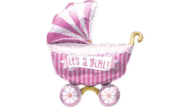 Folienballon It's a girl Kinderwagen rosa