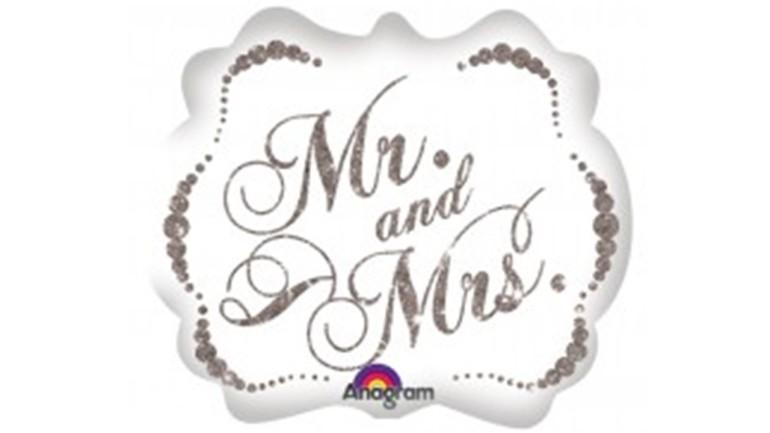 Folienballon Mr & Mrs weiß silber