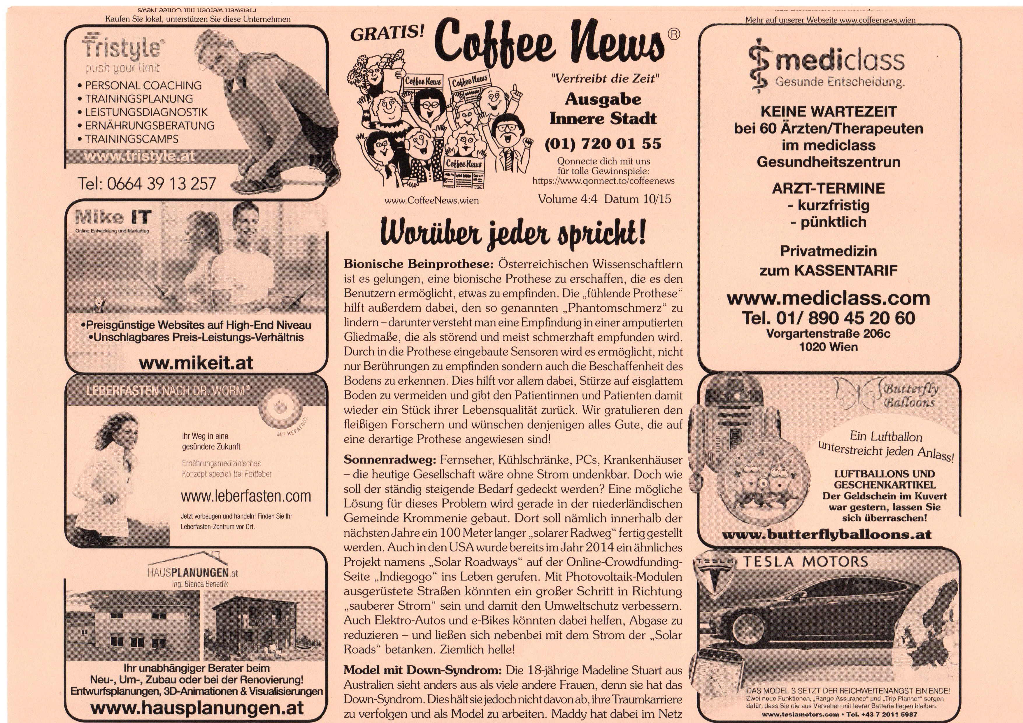 Coffee News Ad Butterfly Balloons