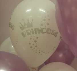 Latexballon Princess weiß mit Glitter