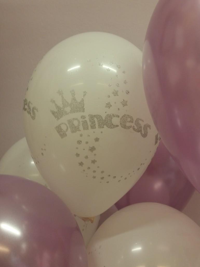 Latexballon Princess weiß mit Glitter