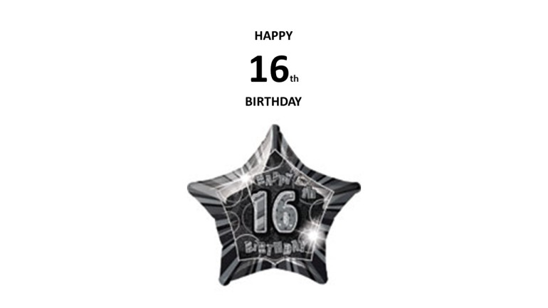 Folienballon Stern Happy 16th Birthday
