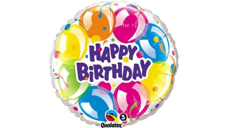 Folienballon Happy Birthday bunt