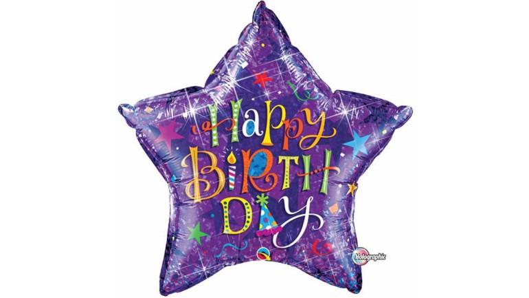 Folienballon Happy Birthday Stern lila