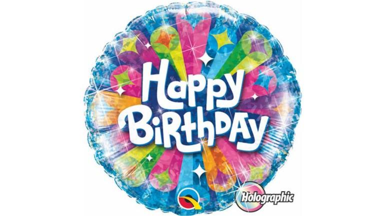 Folienballon Happy Birthday blau bunt