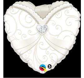 Folienballon Hochzeit Herz weiß creme