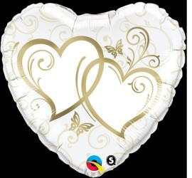Folienballon Hochzeit Herz weiß gold