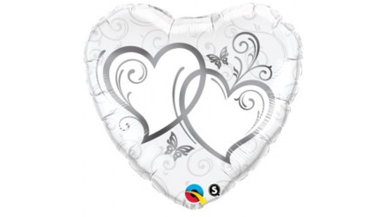 Folienballon Hochzeit Herz weiß silber