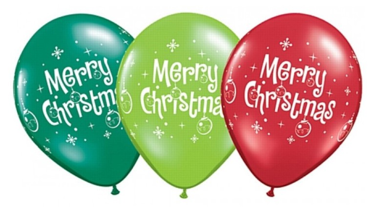 Latexballons Merry Christmas grün rot