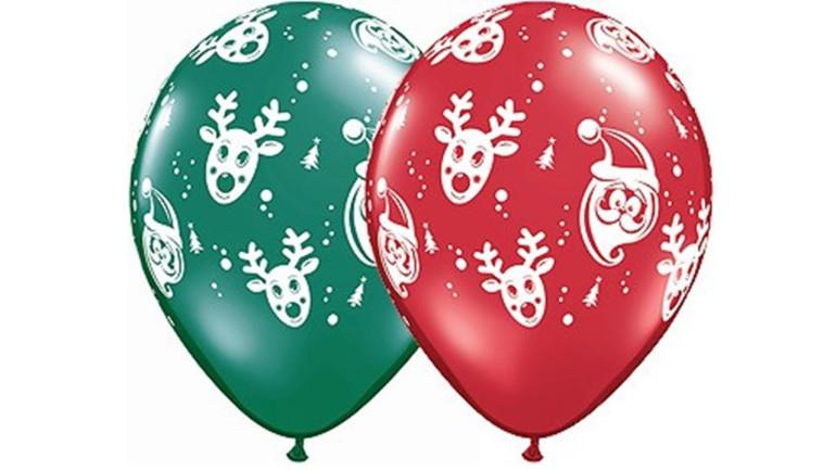 Latexballons Weihnachten grün rot