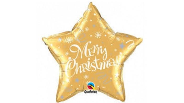 Folienballon Merry Christmas Stern gold