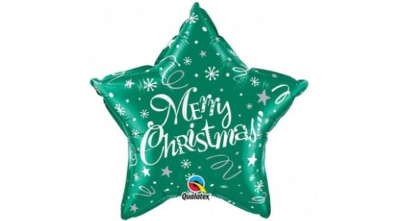 Folienballon Merry Christmas Stern grün