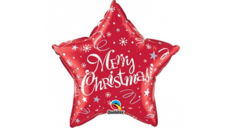 Folienballon Merry Christmas Stern rot