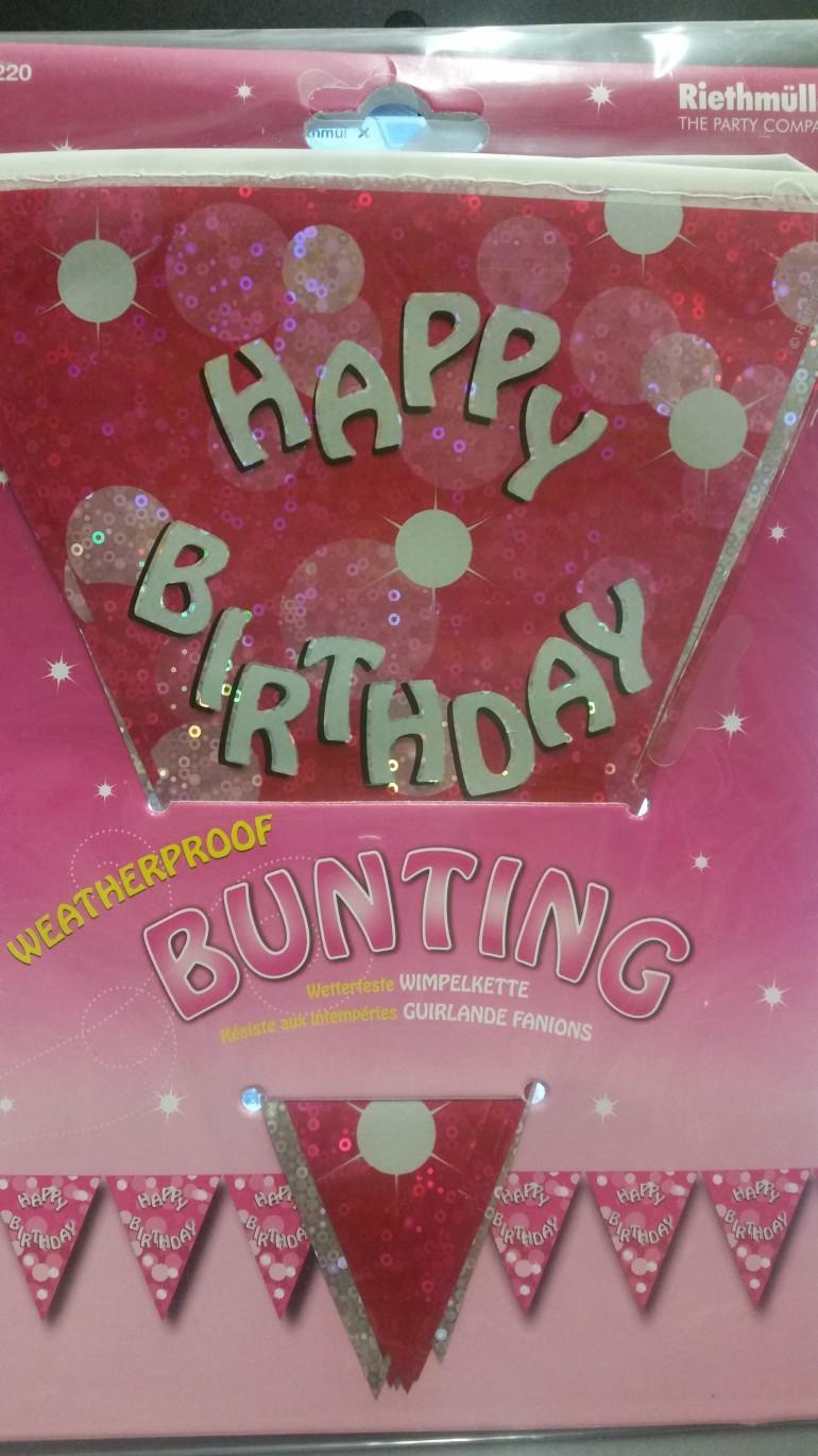 Wimpelkette Happy Birthday rosa glitzer