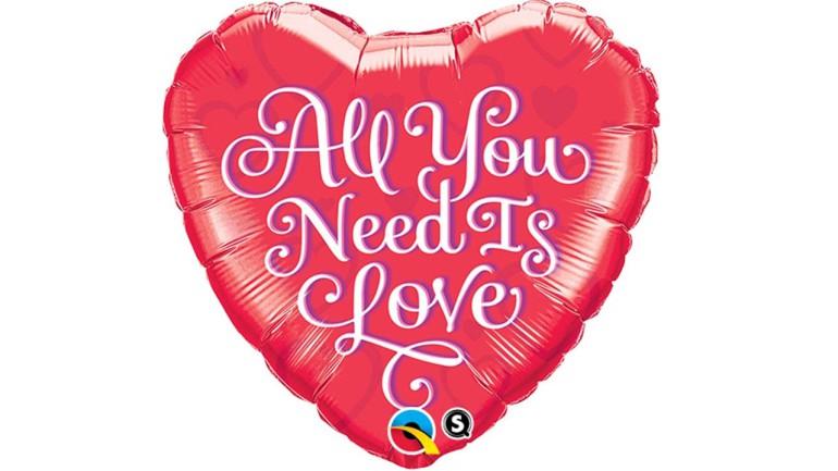 Folienballon Herz rot All You Need Is Love