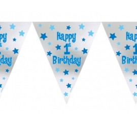 Banner Happy 1st Birthday blau