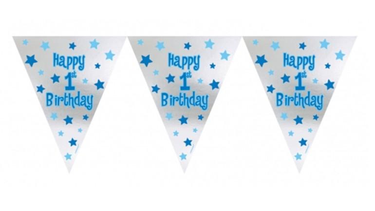 Banner Happy 1st Birthday blau
