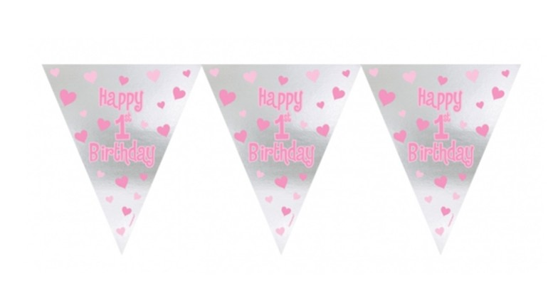 Banner Happy 1st Birthday rosa