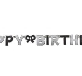 Banner Happy Birthday schwarz silber