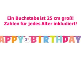 Banner Happy Birthday bunt mit Alterszahl