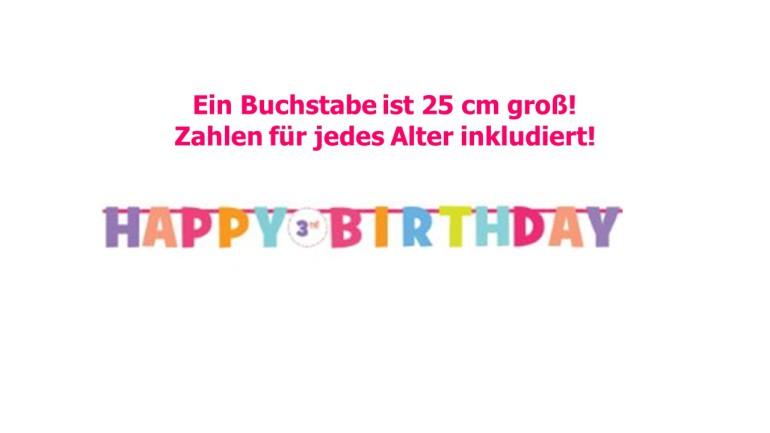 Banner Happy Birthday bunt mit Alterszahl