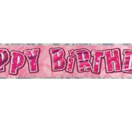 Banner Happy Birthday pink