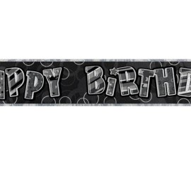 Banner Happy Birthday schwarz grau