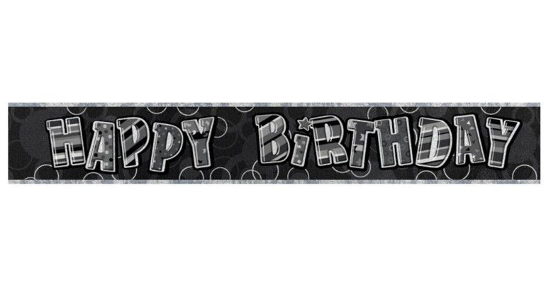Banner Happy Birthday schwarz grau