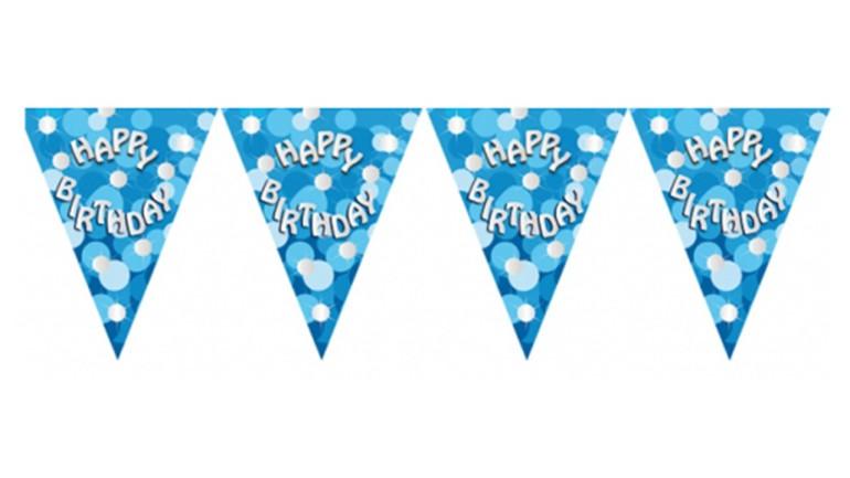 Wimpelkette Happy Birthday blau