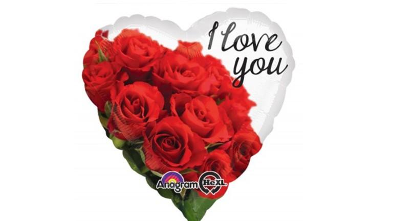 Folienballon Herz Rosen I love you