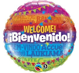 Folienballon bunt Welcome Bienvenido
