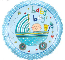 Folienballon blau Baby Boy Kinderwagen