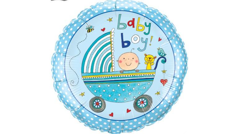Folienballon blau Baby Boy Kinderwagen